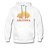 ARIZONA hoodie: Vintage-style distressed graphic on a premium unisex hoodie - white
