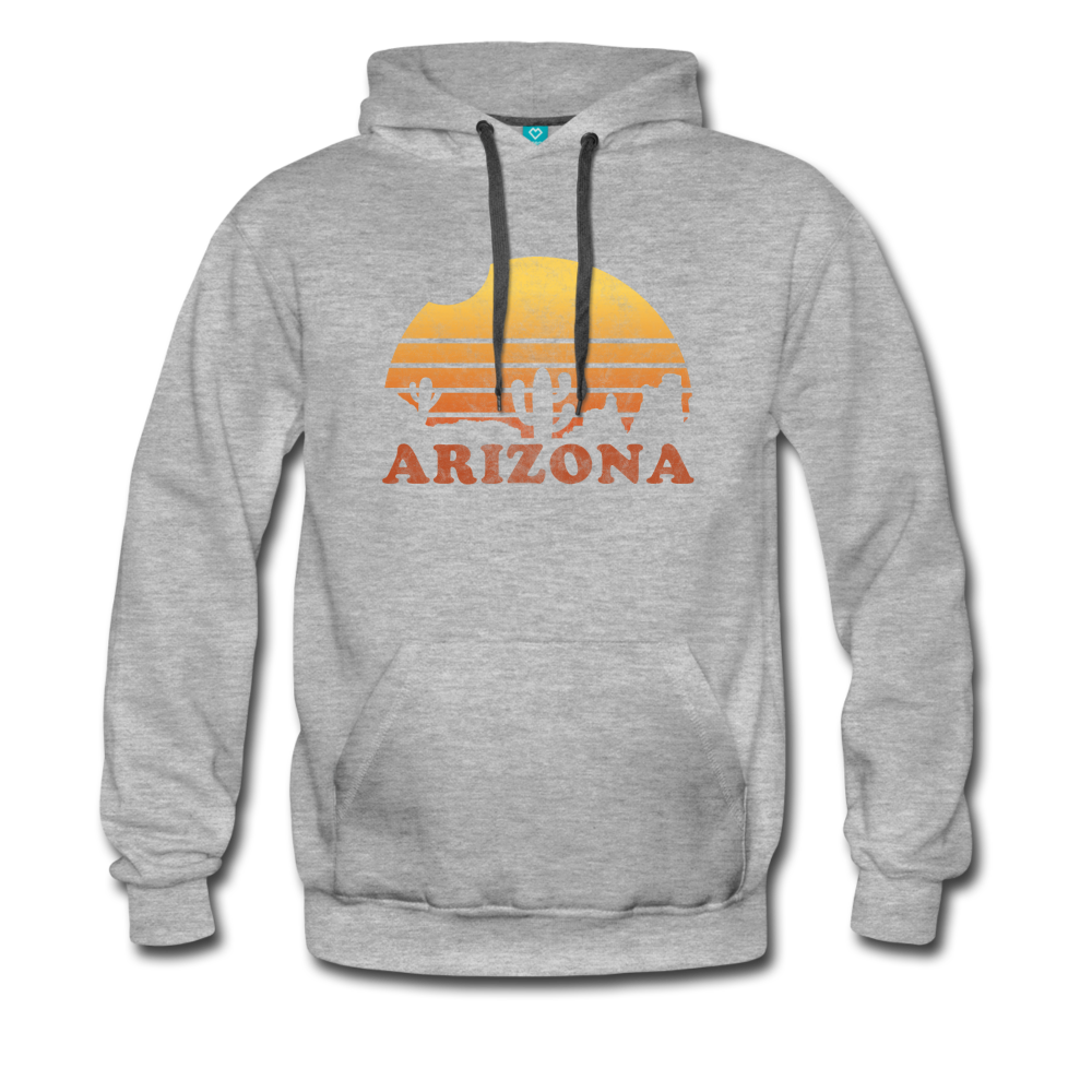 ARIZONA hoodie: Vintage-style distressed graphic on a premium unisex hoodie - heather gray
