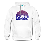 OREGON hoodie: Vintage-style distressed graphic on a premium unisex hoodie - white