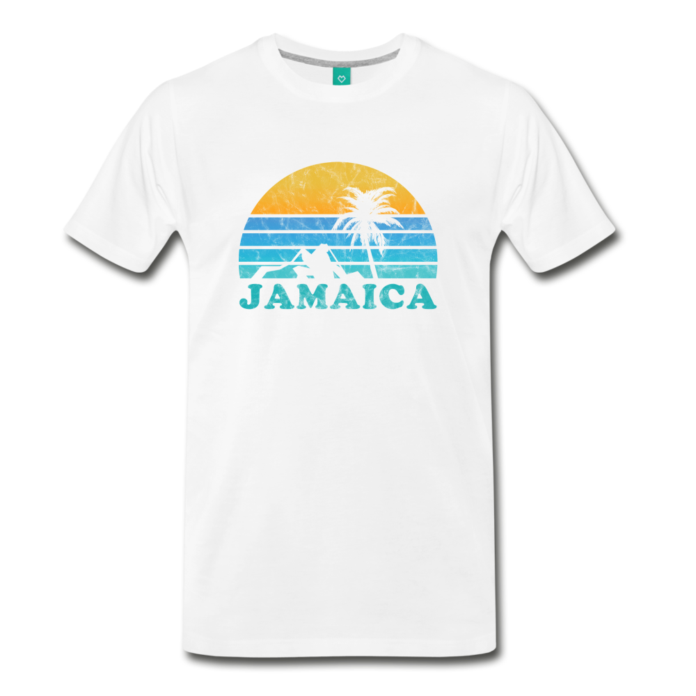 JAMAICA T-shirt: Vintage-style distressed graphic on a premium unisex shirt - charcoal gray ARIZONA state T-shirt: Vintage-style distressed graphic on a premium unisex shirt - white