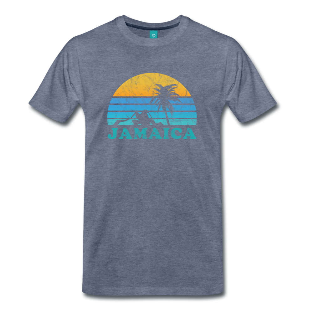 JAMAICA T-shirt: Vintage-style distressed graphic on a premium unisex shirt - charcoal gray ARIZONA state T-shirt: Vintage-style distressed graphic on a premium unisex shirt - heather blue