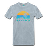 JAMAICA T-shirt: Vintage-style distressed graphic on a premium unisex shirt - charcoal gray ARIZONA state T-shirt: Vintage-style distressed graphic on a premium unisex shirt - heather ice blue
