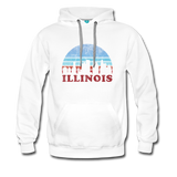 ILLINOIS hoodie: Vintage-style distressed graphic on a premium unisex hoodie - white