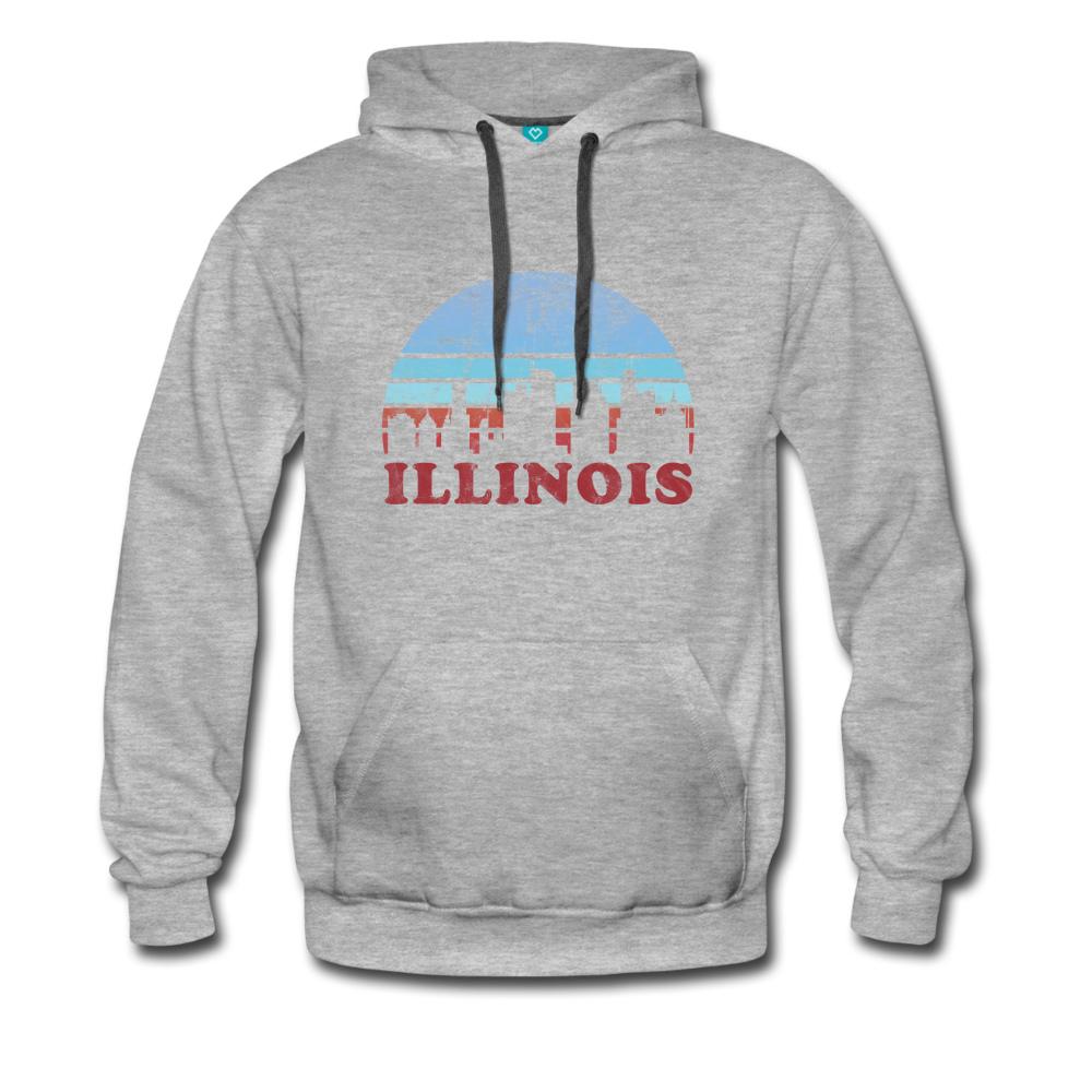 ILLINOIS hoodie: Vintage-style distressed graphic on a premium unisex hoodie - heather gray