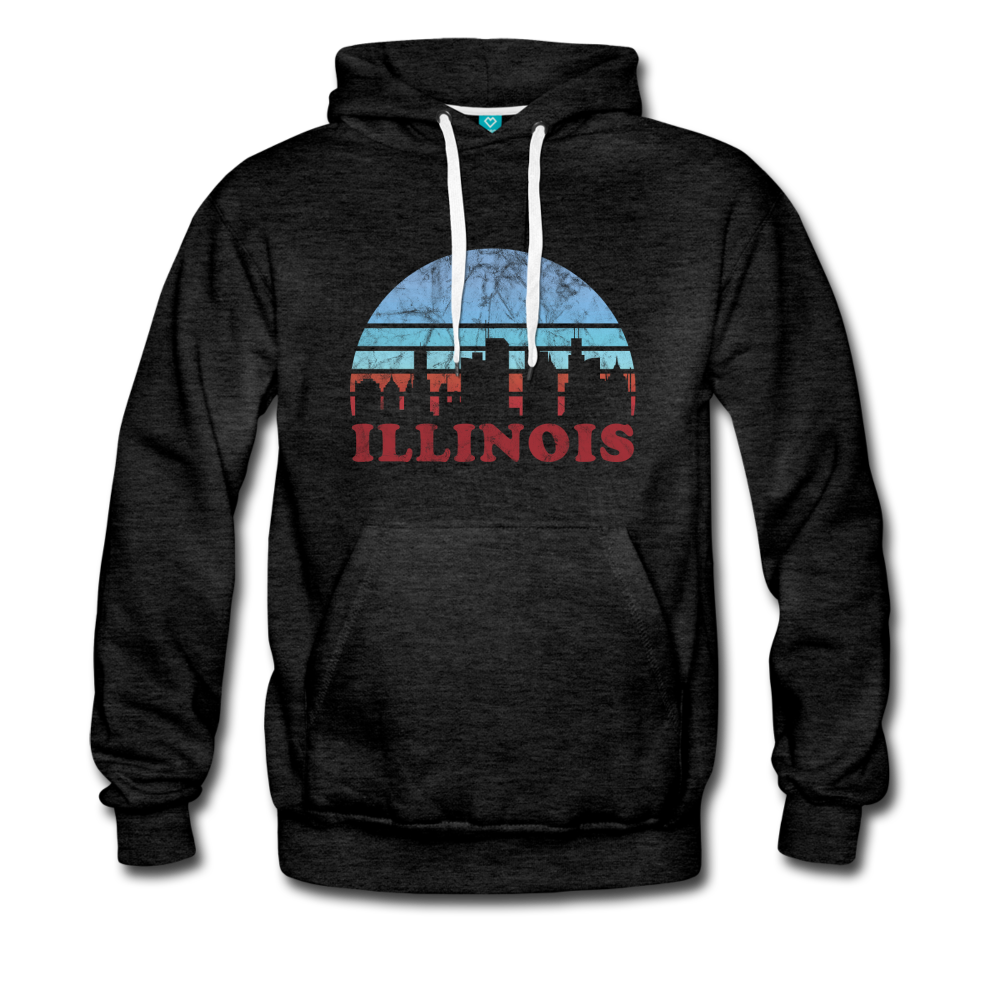 ILLINOIS hoodie: Vintage-style distressed graphic on a premium unisex hoodie - charcoal gray