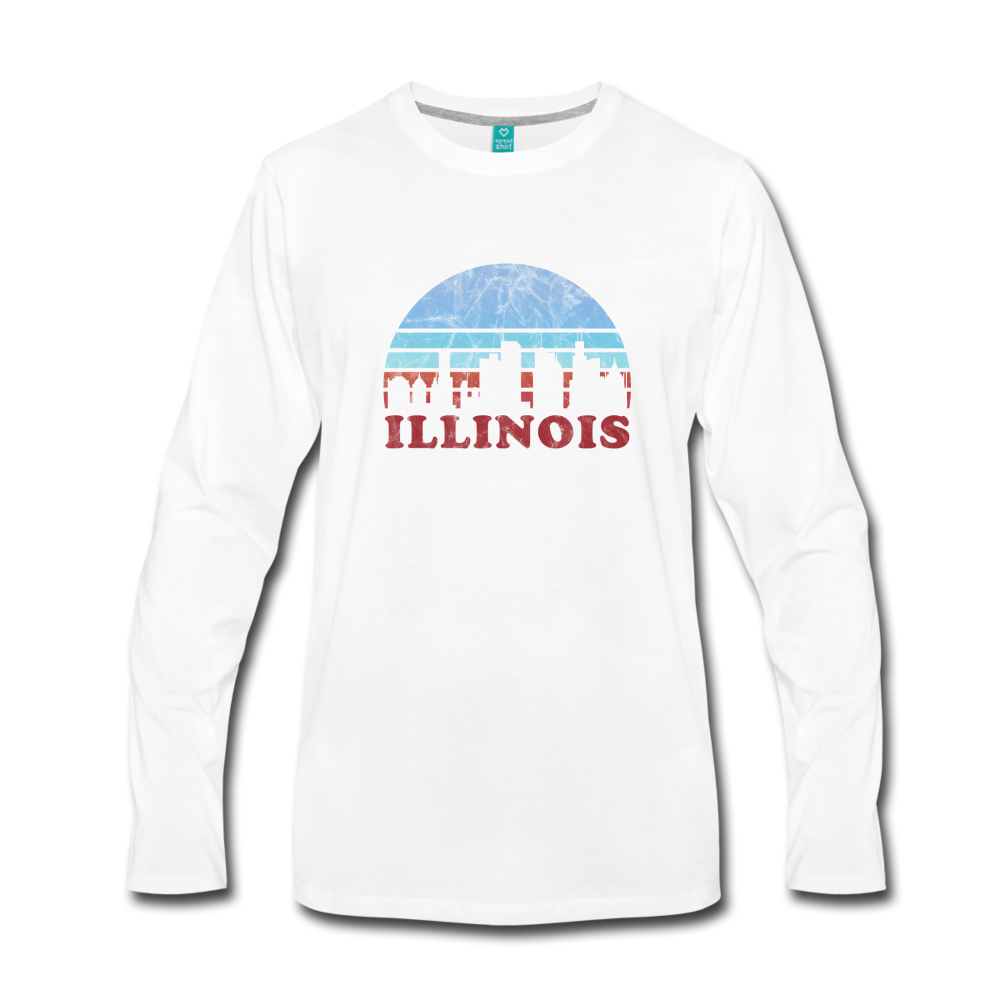 ILLINOIS state T-shirt: Vintage-style distressed graphic on a premium unisex long-sleeve shirt - white