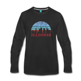 ILLINOIS state T-shirt: Vintage-style distressed graphic on a premium unisex long-sleeve shirt - black