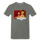 Vintage coffee lover graphic on a premium unisex T-shirt (white text) - asphalt gray