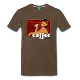 Vintage coffee lover graphic on a premium unisex T-shirt (white text) - noble brown