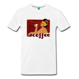 Vintage coffee lover graphic on a premium unisex T-shirt (dark text)- Woman with a steaming cup of joe
