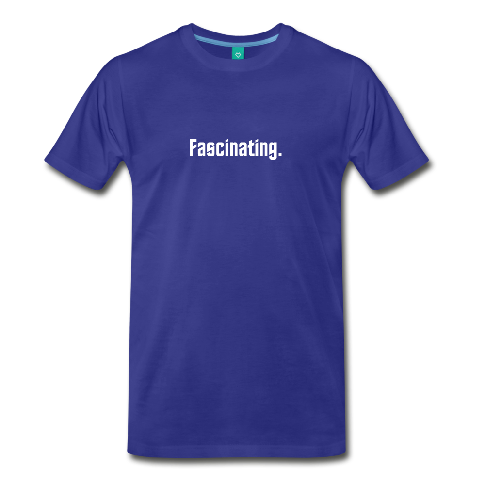 """Fascinating."" - Spock style vintage quote graphic on a premium unisex T-shirt (white text) - royal blue"