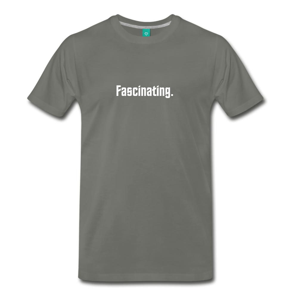 """Fascinating."" - Spock style vintage quote graphic on a premium unisex T-shirt (white text) - asphalt gray"