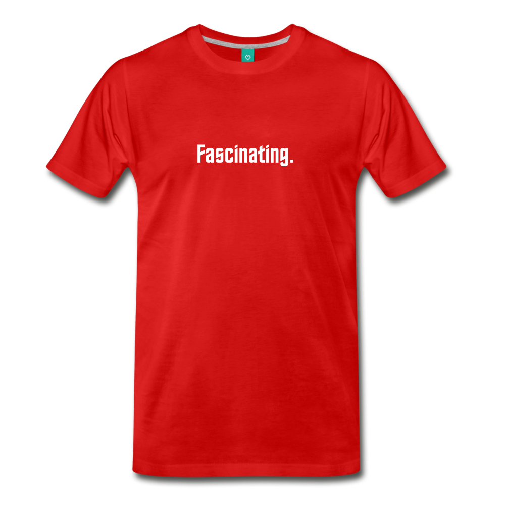 """Fascinating."" - Spock style vintage quote graphic on a premium unisex T-shirt (white text) - red"