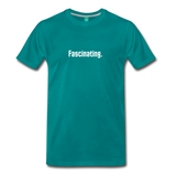 """Fascinating."" - Spock style vintage quote graphic on a premium unisex T-shirt (white text) - teal"