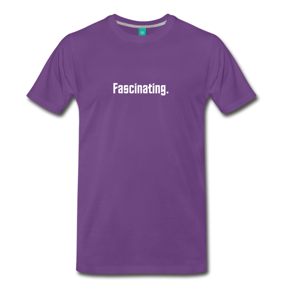 """Fascinating."" - Spock style vintage quote graphic on a premium unisex T-shirt (white text) - purple"
