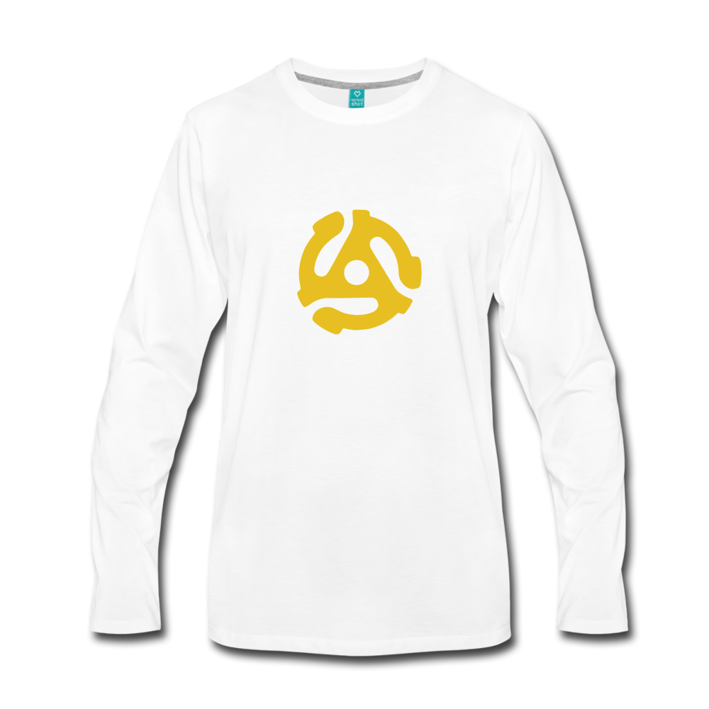 Vintage 45-RPM single record insert - yellow graphic on a premium long-sleeve unisex T-shirt - white