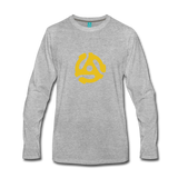 Vintage 45-RPM single record insert - yellow graphic on a premium long-sleeve unisex T-shirt - heather gray