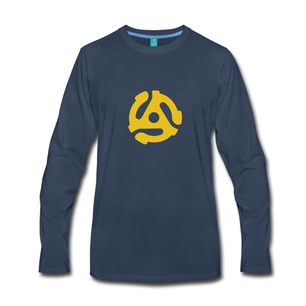 Vintage 45-RPM single record insert - yellow graphic on a premium long-sleeve unisex T-shirt - navy