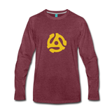 Vintage 45-RPM single record insert - yellow graphic on a premium long-sleeve unisex T-shirt - heather burgundy