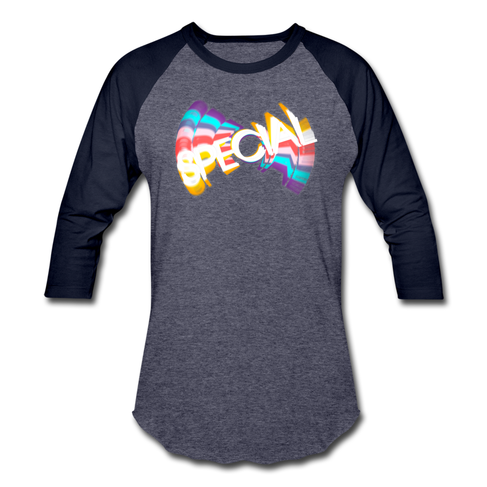 Baseball T-shirt  with retro-style SPECIAL graphic from '70s & '80s TV - Available in 3 colors - heather blue/navy