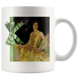 Mug with a glamorous '20s woman in a yellow satin dress