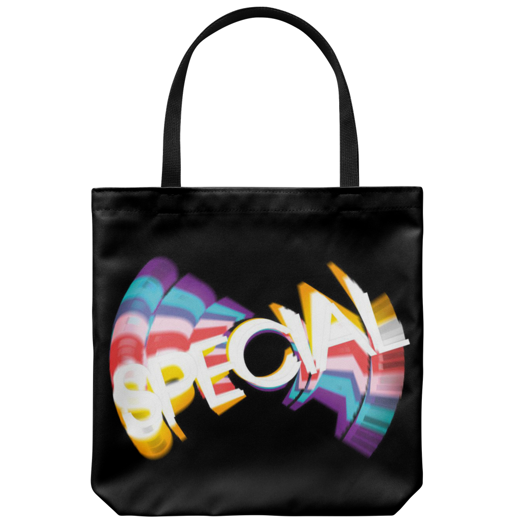 Tote bags with retro-style SPECIAL graphic from '70s  & '80s TV  - Available in 4 colors