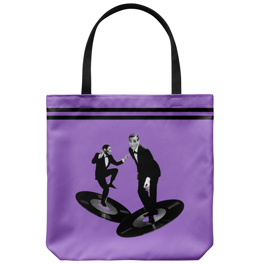 Retro tote bags with hip music dudes floating on vintage records from the '50s