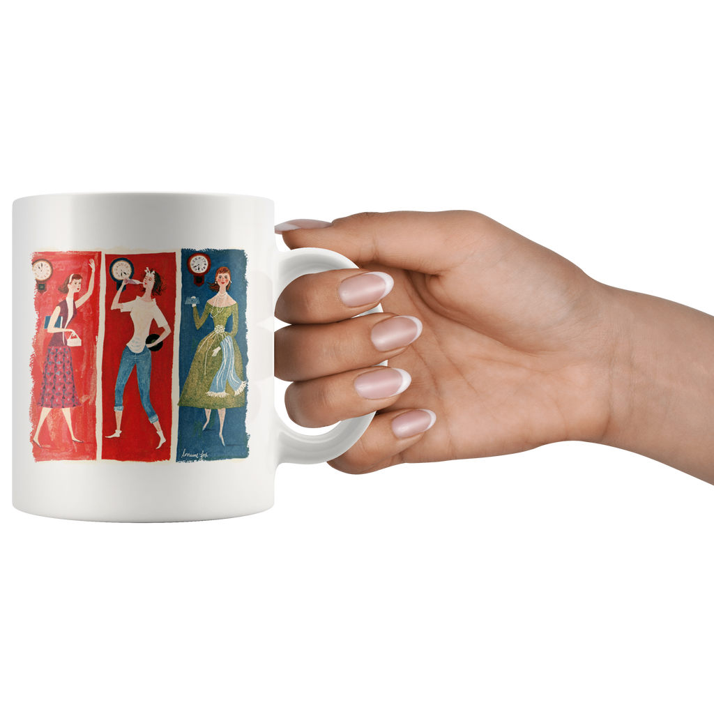 Mug with vintage graphic of the busy day of a '50s woman artwork
