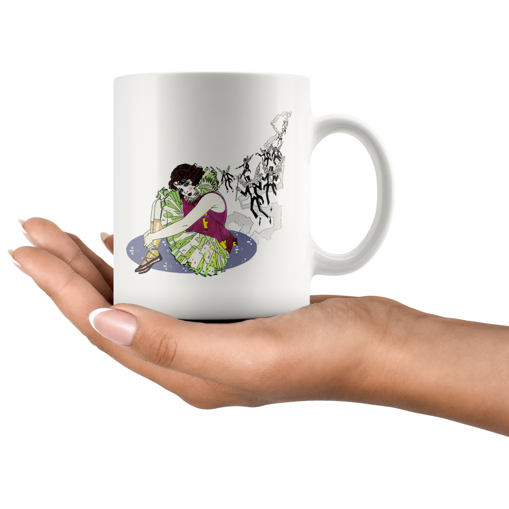 Mug with vintage graphic of a woman dressed as a stage clown performer - Design from 1920