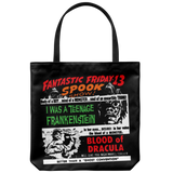 Tote bag with vintage horror movie double feature bill from 1959