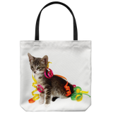 Adorable tabby kitten tote bag - Grey striped cat with party ribbons