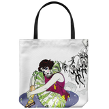 Tote bag with cartoon of a 1920s flapper-style woman dressed for the stage