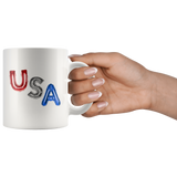 USA red, white & blue balloons on a 11-ounce mug