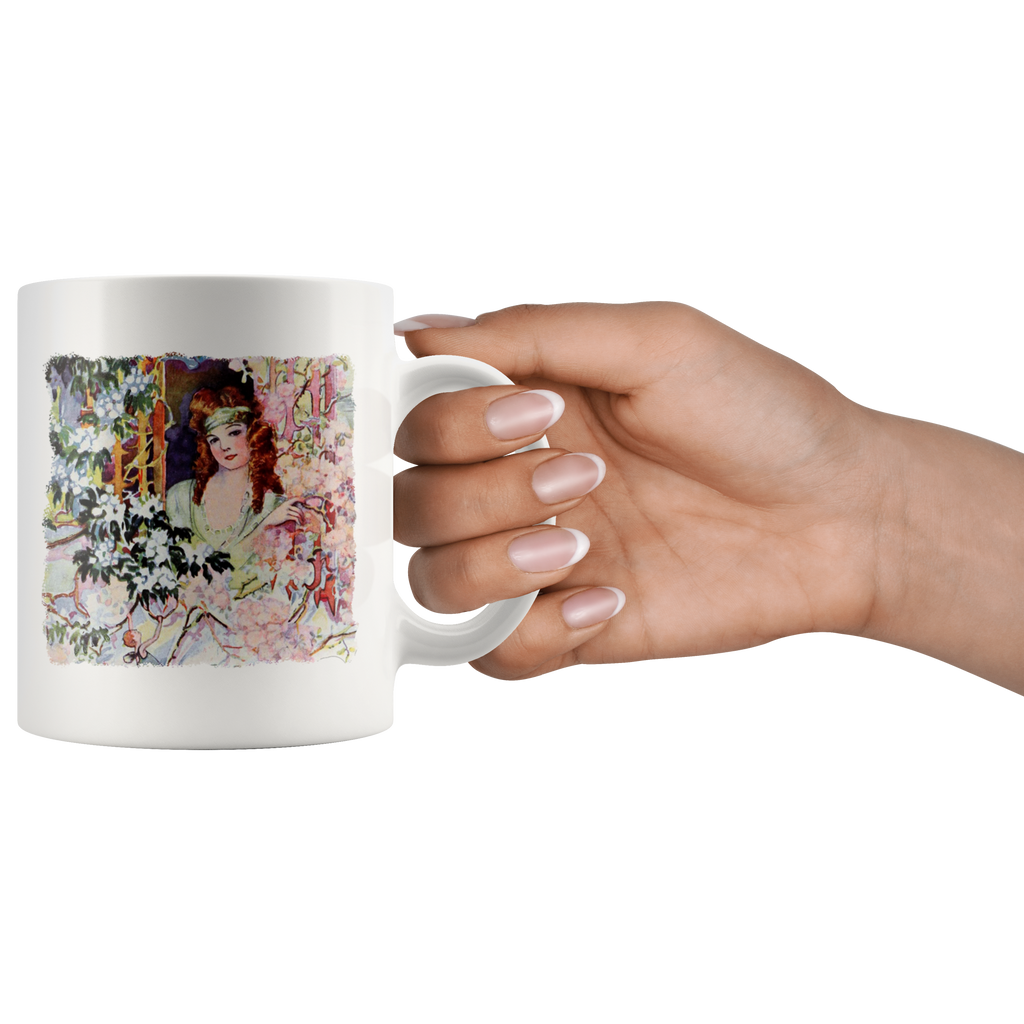 Mug with beautiful woman in a vintage country scene from the '20s
