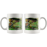 Mug with a country cottage & hills rural scene from the '30s