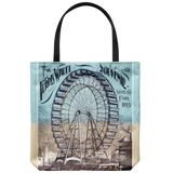 Tote bag with graphic of the first Ferris Wheel from back in 1893