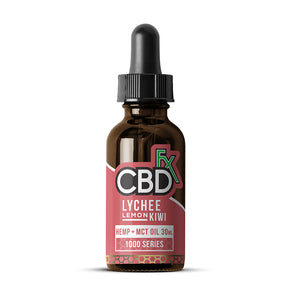 CBDfx Hemp + MCT Oil Tincture 30mL - Lychee Lemon Kiwi - 1000mg
