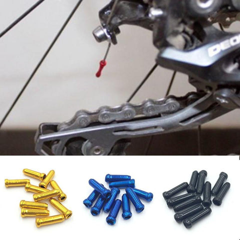 10 pcs/lot MTB Mountain Road bike cycling bicycle aluminum brake cable tips crimps bicycle derailleur shift cable end caps