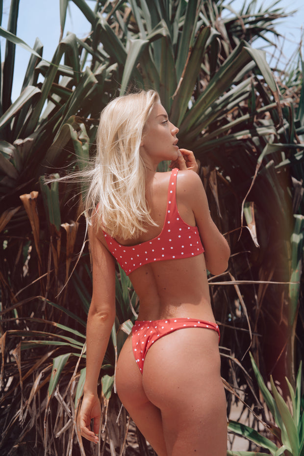 Red White Polka Dot Bali Bikini BOTTOMS