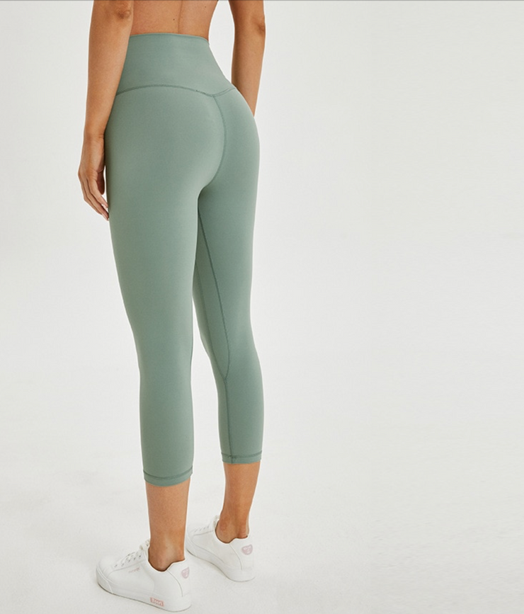 Capri High Waisted leggings Teal Green