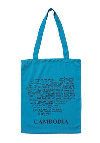 Cambodia Map Tote Bag