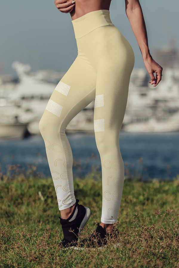 racé LOVELACE SANDY leggings high waisted - Yellow / XS - - racé athleisure