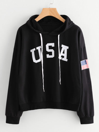 Flag Printed Drawstring Hoodie - L - Women's Clothing - racé athleisure