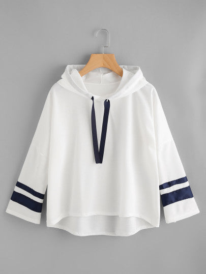 Varsity Striped Dip Hem Hoodie - - Women's Clothing - racé athleisure