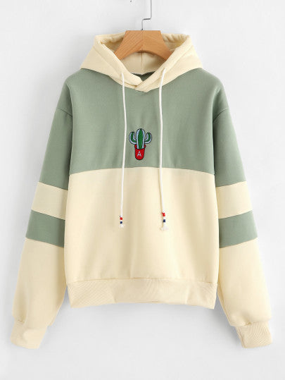 Cactus Embroidered Color Block Hoodie - - Women's Clothing - racé athleisure