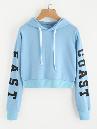 Letters Print Crop Hoodie - - Women's Clothing - racé athleisure