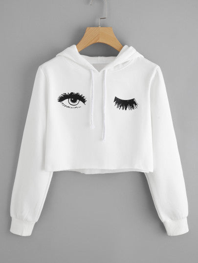 Blink One Eye Print Crop Hoodie - - Women's Clothing - racé athleisure