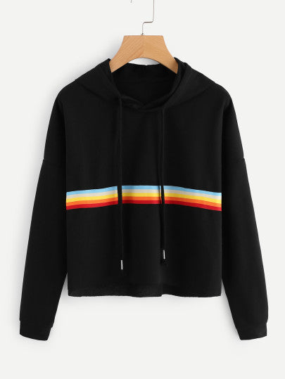 Contrast Striped Raw Hem Crop Hoodie - - Women's Clothing - racé athleisure