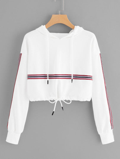 Striped Tape Panel Drawstring Detail Hoodie - - Women's Clothing - racé athleisure