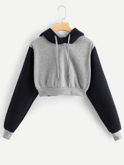 Drawstring Crop Hoodie - - Women's Clothing - racé athleisure